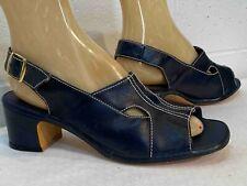Nos Vtg 60s 70s Sandal Shoe Block Heel Miss Wonderful Sling Back Sz 9 M Navy
