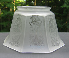 Gas Lamp Shade Etched Glass 3 15/16 Fitter 8-Panel Antique Old Designed