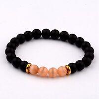 8MM Natural Black Agate Cats Eye Gemstone Bead Charm Man Woman  Bracelets