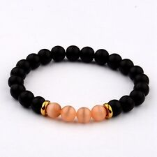 8MM Natural Black Agate Cats Eye Gemstone Bead Charm Man Woman  Bracelets