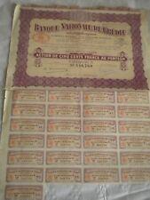 Vintage share certificate Stocks Bonds Action Banque nationale de credit 1930