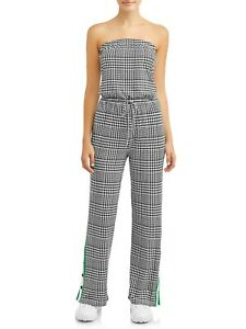 No Boundaries Juniors' strapless yummy jumpsuit with snap bottoms
