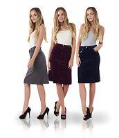 Ladies A Line Fine Cord Stretch Stud Detail Knee Length Midi Skirt