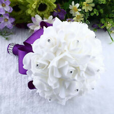 Crystal Roses Pearl Bridesmaid Wedding Bouquet Bridal Artificial Silk Flower.