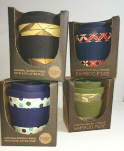 Small BAMBOO TRAVEL BEAKER Silicone Lid Clutch ECO COFFEE TEA CUP Camo Polka Geo