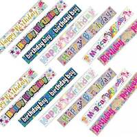 Happy Birthday Unicorn Girl Multi Colour Holographic Foil 9ft Banner Boys Girls