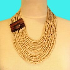"24"" Natural Color Multi Strand Wood Buckle Waterfall Handmade Seed Bead Necklace"