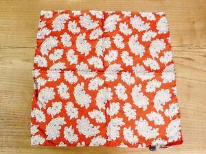 Peckham & Rye SilkBurnt Orange & Grey Paisley Pocket Square Hand Stitched New