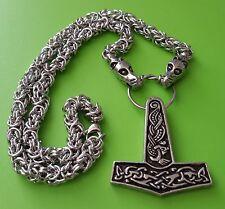 Viking Dragon Head Chain with Jorvik Thor's Hammer Pewter Pendant - Thor God