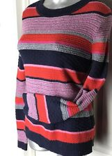 Tommy Hilfiger Pink Gray Navy - Knit Striped Crew Neck Sweater -Size L LARGE