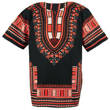 Cotton African Dashiki Mexican Poncho Hippie Tribal Boho Shirt Black ad14o