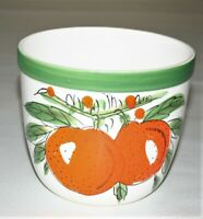 """Vintage Ceramic Planter Fruit Orange's Hand Painted, 6"""" Mouth X 5-1/8"""" Tall"""