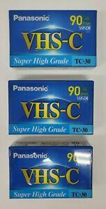 ⭐NEW⭐ Panasonic VHS-C Super High Grade 90 Minute Camcorder Tapes TC-30, lot of 3