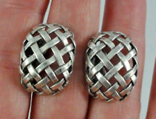 Vintage Sterling Silver Domed Basket Weave Design Open Work Screw Back Earrings