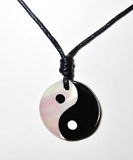 YIN YANG SYMBOL CHARM PENDANT BLACK WHITE SHELL ADJUST CORD NECKLACE mens womens