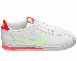 Nike WMNS Cortez Classic Leather 807471-116 WHITE BARELY VOLT FLASH CRIMSON NEW