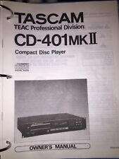 TASCAM CD-401MK2 STUDIO CD PLAYER MANUAL