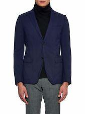 GUCCI 1850$ Authentic New Blue Wool Twill Crinkled Blazer Jacket sz 48 38
