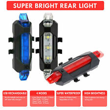 Rechargeable USB LED Bike Bicycle Tail Red Light Cycling Back Multi LED Colour