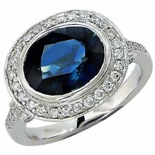Platinum Natural Sapphire & Diamond Engagement Ring