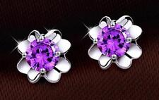 Butterfly Fastening Stud Beauty Round Costume Earrings