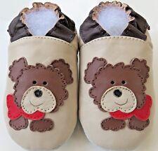 Minishoezoo dog beige 24-36 m US 9/10 soft sole leather toddler indoor shoes