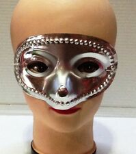 CARNEVALE HALLOWEEN MASCHERA ARGENTO SILVER PLASTIC MASK FACE COSPLAY COTILLONS