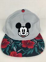Disney Mickey Mouse Cap Hat Gray With Tropical Hawaiian Print Brim Snap Back New