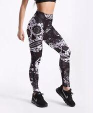 Grey/Black Skulls and Roses Print Leggings Trousers Size M (UK 10-12)