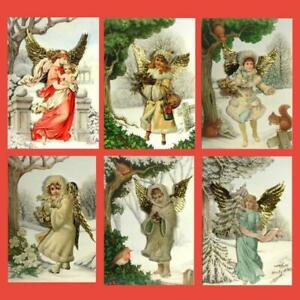 36 Decoupage Victorian Angel Christmas Cards with Gold Embossed Wings (EG)