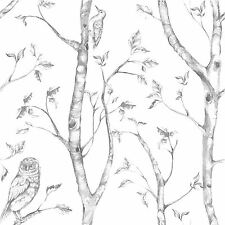NUWALLPAPER WOODS PEEL & STICK WALLPAPER - GREY NU1412 - FINE DECOR BIRDS