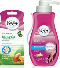 Veet Hair Removal Cream, Legs - Body 13.52 Oz - Wax Strip Kit 20 Ct, 1 ea