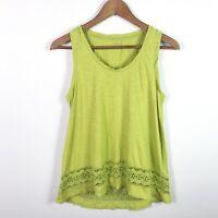 Ann Taylor Loft Top Sleeveless Green Casual Blouse Crochet Hem Size Small Cotton