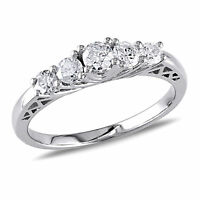 Amour 1/2 CT TW 5-Stone Diamond Engagement Ring in 10k White Gold