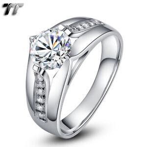 Luxury THICK TT RHODIUM 925 Sterling Silver Engagement Wedding Ring (RW17)
