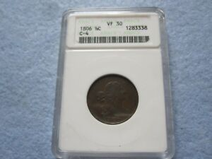 1806 Draped Bust Half Cent Stems ANACS graded VF30 Rotated Reverse (1/2 Cent)