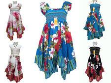 Vestidos de niña de 2 a 16 años de 100% algodón sin mangas