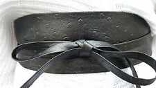 "VIKTOR SABO Handmade OBI BLACK Ostrich Leather For Waistline Up To 32""/81.3cm L+"