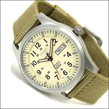 Seiko 40mm 5 Sports Automatic Watch with Tan Canvas Strap, Day, Date #SNZG07K1