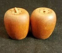 Collectible Salt and pepper shakers vintage set Wood Apples 1.75""