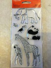 Clear Acrylic Stamp Set by Fiskars Stamps Day At The Zoo 106110-1001 NEW