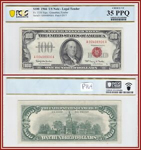 1966 Legal Tender $100 United States Note PCGS 35 PPQ Choice Very Fine Hundred