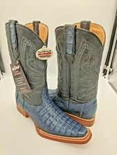 Men's Cowboy Boots Genuine Caiman Leather Blue 7.5