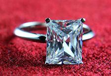 Diamond Ring 2Ct Emerald Brilliant Cut Solitaire Engagement 14K White Gold $1499