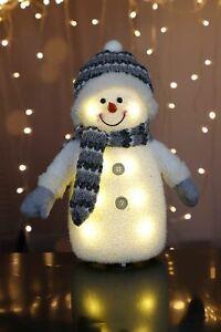 Deko Schneemann mit LED Beleuchtung Weihnachten Figur Weihnachtsdeko
