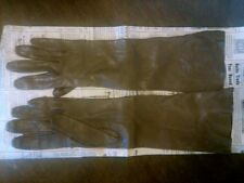 Vintage Pair Dark Brown Leather Table Cut Womens Long Gloves Size 6 1/2 Washable