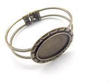 Antique Bronze Brass Cuff Bangle Bracelet Blanks 20x30mm Oval Cabochon Settings