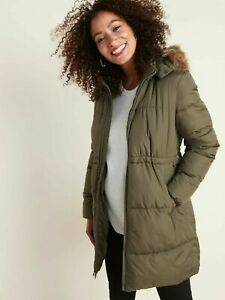 Old Navy L Maternity Hooded Frost-Free Long-Line Puffer Jacket Large Green