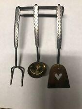 Antique 4 piece Set, Iron & Brass Spatula, Ladle, Fork, Signed T.Loose