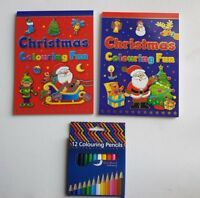 A5 Christmas Colouring Book with Pencils Fun Christmas Eve Box Stocking Filler